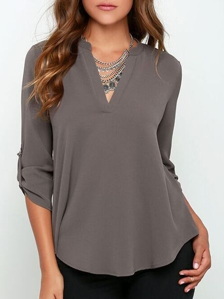 Love the flow and style of this blouse!     Buy Sparkling V Neck Plain Blouses online with cheap prices and discover fashion Blouses at Fashionmia.com.