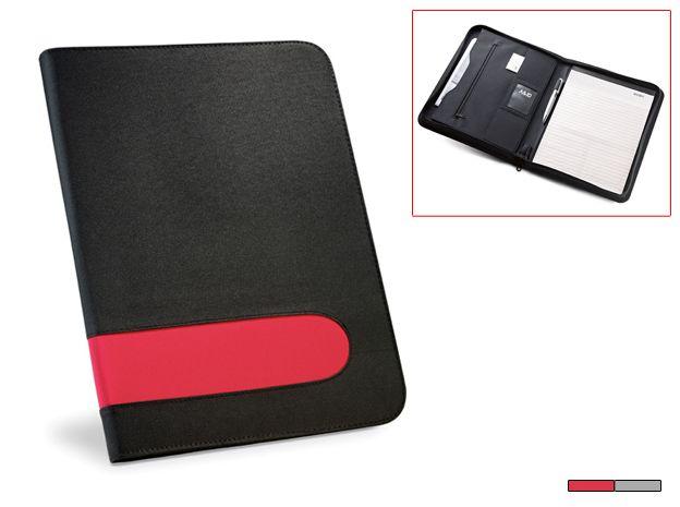 Portafolios France. Portafolios con bloc a rayas y porta bolígrafo. Microfibra y Poliéster. Desde 7 € en www.areadifusion.com