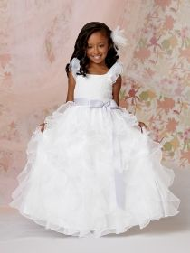 puff sleeve ruffle skirt floor length lace bodice flower girl dress ribbon sash