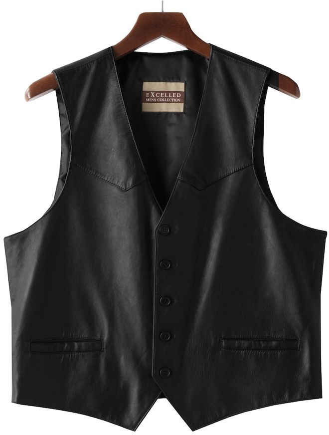 Excelled Men's Excelled Button-Front Leather Vest