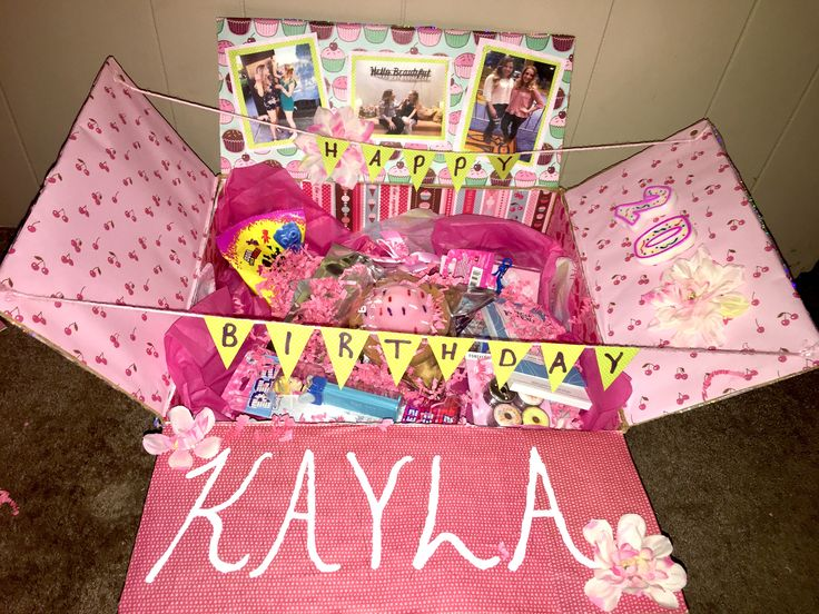 Best friend birthday care package pop up box