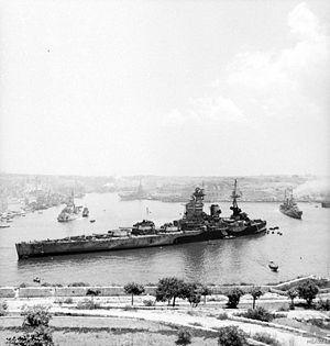 Ship- HMS Rodney, Battleship, HMS Rodneyin Valletta Harbour, Malta during July 1943