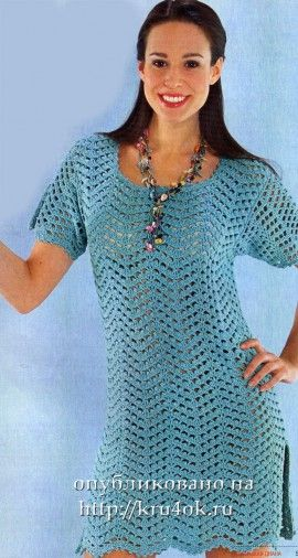 Crochet blue tunic-dress - pattern and diagrams