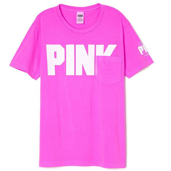 PINK Campus Short Sleeve Tee ($29) ❤ liked on Polyvore featuring tops, t-shirts, pink t shirt, short sleeve t shirt, short sleeve tee, colorful t shirts and multi color tops
