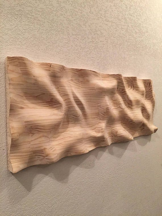 Carved From Wood And Made To Look Like The Waves On Water This Piece Turns The Rigid And Static Into The Illusion O Skulpturen Kunst Auf Holz Sperrholz Kunst