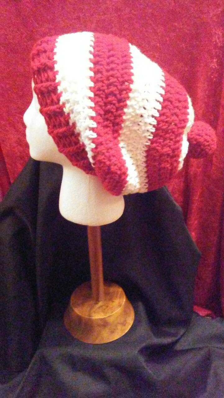 Red and White Crochet Slouchy Hat, Red and White Hat, Crochet Hats, Christmas Hat, Where's Waldo, Ohio State, Ready to Ship, B65-16-1225 by NoreensCrochetShop on Etsy