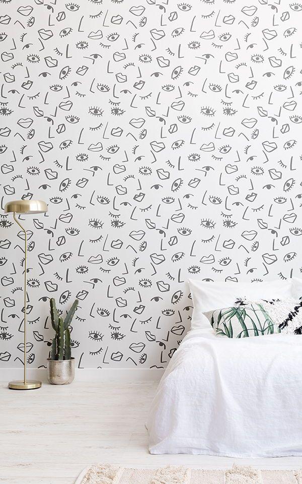 Face Effect Wallpaper Mural | Murals Wallpaper | Wallpaper Bedroom, Mural Wallpaper, Colorful Wallpaper
