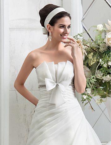 una línea de vestidos de boda del organza de lado cubierto tren de la corte sin tirantes de la princesa - USD $ 141.99