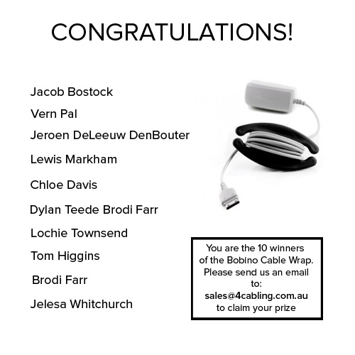 The 10 winners of the Bobino Cable Wrap! Congratulations to all of you