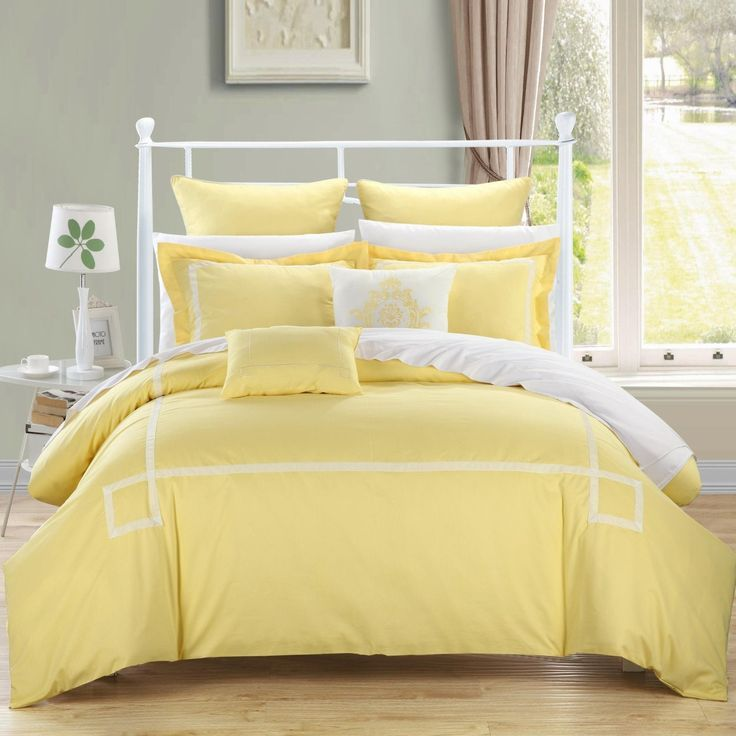 Chic Home Woodford 7-Piece Embroidered Comforter Set, Queen, Yellow