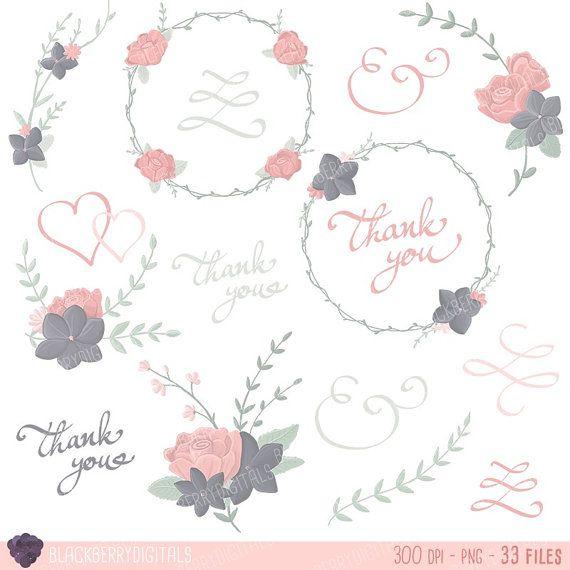 Floral wedding Clipart floral clip art  by BlackberryDigitals