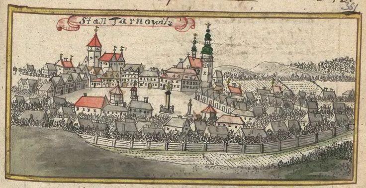 Montes_Tarnovicenses.  Widok miasta Tarnowskie Góry w I poł. XVIII wieku – rysunek Friedriecha Bernharda Wernhera