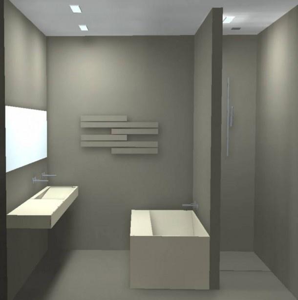 Bad tegen de wand goed idee maar ik zou de brede rand tegen de muur aan plaatsen ivm - Deco kleine badkamer met bad ...