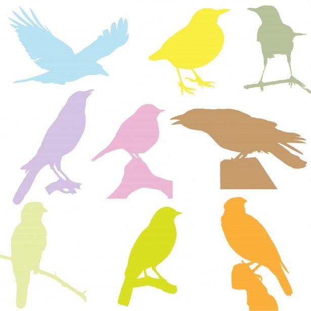 鳥カラフルシルエット素材。鳥のシルエットアイデア