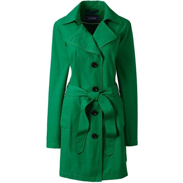 Lands' End Women's Petite Trench Coat - Harbor ($99) ❤ liked on Polyvore featuring outerwear, coats, jackets, green, petite coats, green coat, petite trench coat, evening coat and trench coat