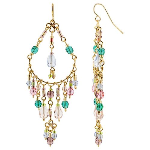 Gold Plated Multicolor Czech Seed Beads Handmade Chandelier Earrings #MPER137