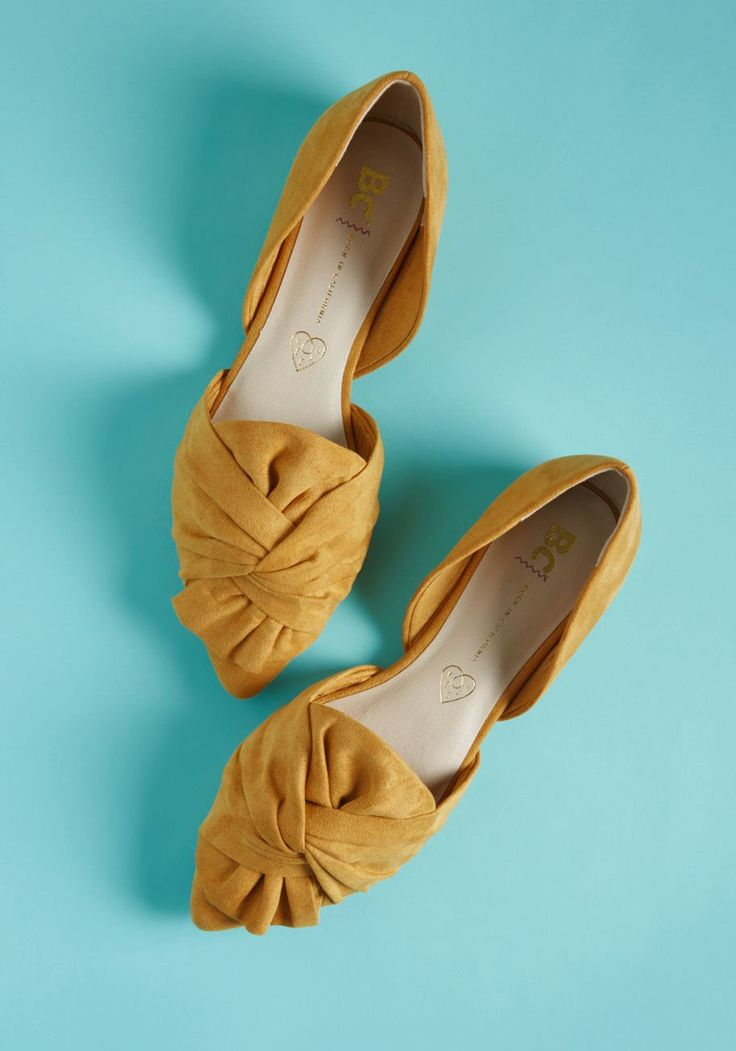 Knot Your Typical Vegan Flat - Think you know what to expect from cruelty-free footwear? These mustard flats from BC Footwear combine intricate twists atop pointed toes with a d'Orsay silhouette and vegan faux-suede fabric, forming a pair of flawlessly fashionable skimmers that will surprise even the most seasoned stylista!