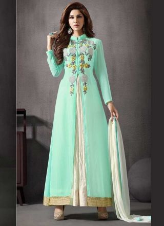Sea Green Off White Resham Work Georgette Anarkali Suit  #Anarkali #Churidar #Pakistani #Suit #Salwar #Bollywood		 http://www.angelnx.com/Salwar-Kameez