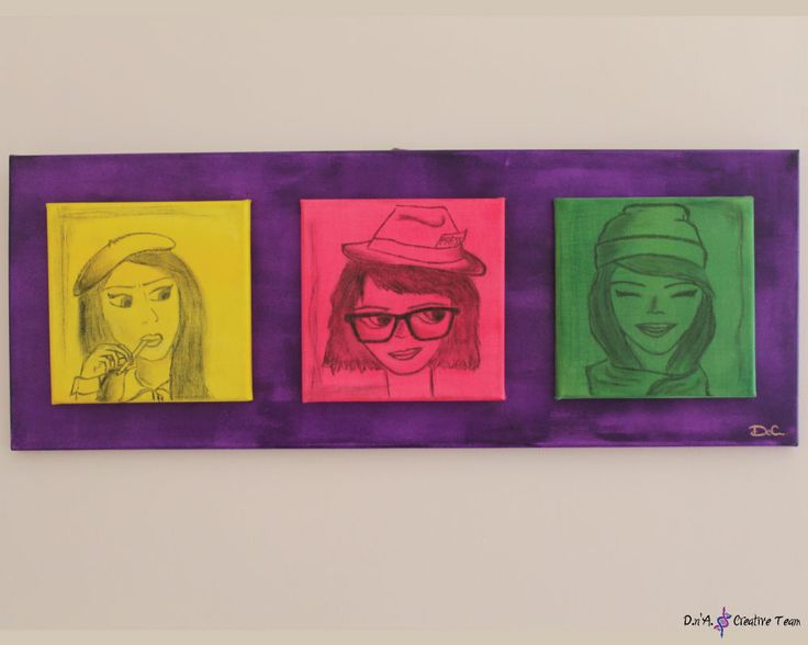 -THREE GIRLS -Acrylic paint/ carbon on canvas -four canvas in one -Measures: 30x80 cm  https://www.etsy.com/listing/213026205/portraits-on-canvas-three-paintings-in?ref=shop_home_active_4
