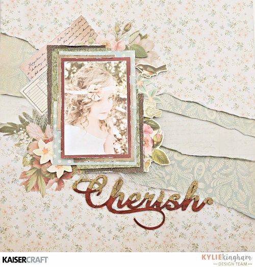 'Cherish' Layout by Kylie Kingham Design Team member for Kaisercraft using their 'Cherry Tree Lane' collection. saved from kaisercraft.com.au/blog/ - Wendy Schultz - Scrapbook Layouts.