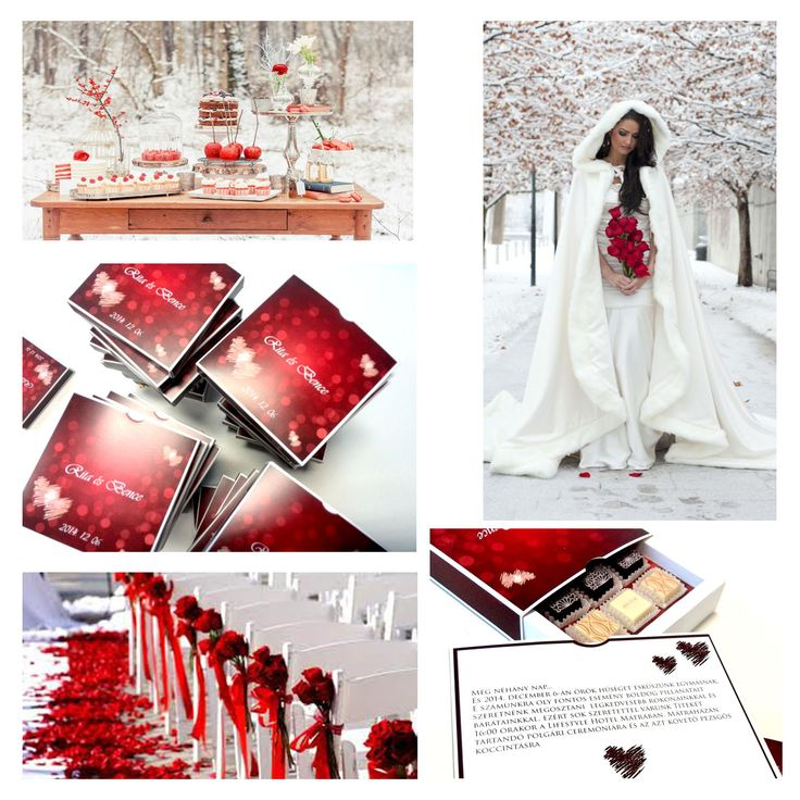 Red and White Winter Wedding