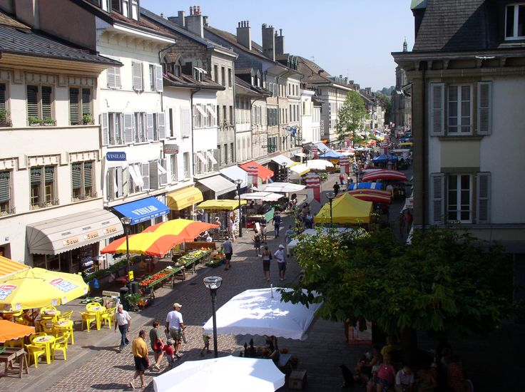 Grand-Rue of Morges during the saturdays and wednesdays market