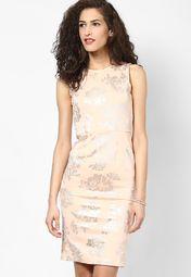 Dorothy Perkins Blush Foil Pencil Dress Online Shopping Store