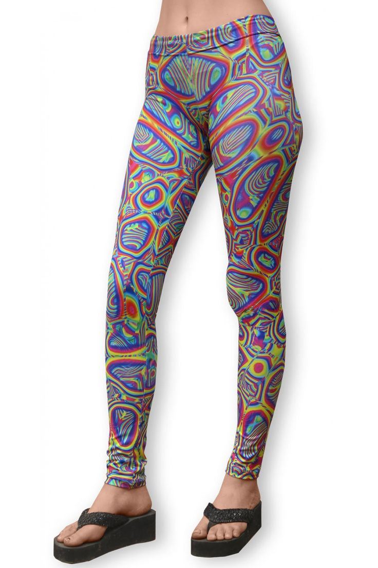 "Sublime Leggings : Prismatic Sublimation print lycra leggings. The design is printed using dye sublimation technology on a high quality, 4-way stretch, polyester lycra. This gives extremely juicy, vibrant colors that will never fade away, no matter how many times they get washed, & results in an extremely soft ""feel"" to the leggings for ultimate comfort. Artwork by Sam Farrand"