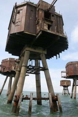 MAUNSELL FORTS England  These sci-fi towers were constructed in the Thames estuary to protect England's coast from German air raids during World War II. After being abandoned in 1956, the forts were briefly used to broadcast offshore radio stations.