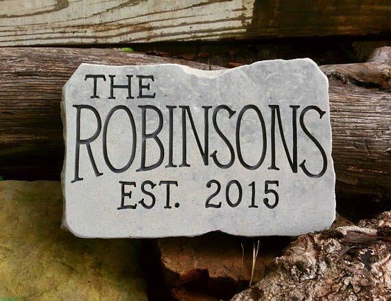 ESTABLISHED Stone  Personalized Garden Stone  Anniversary