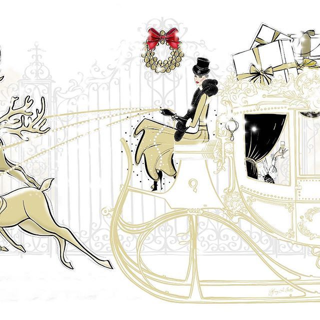 Christmas Sleigh illustration Tiffany La Belle Art & Illustration, view the whole scene www.tiffanylabelle.com, @tiffanylabelle_official ...