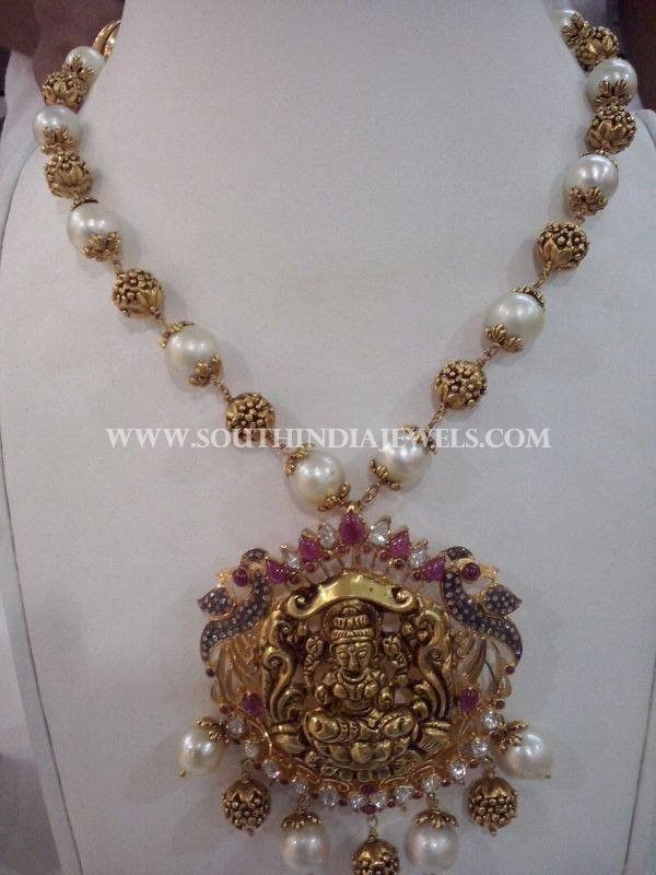 Gold Antique Pearl Mala With Lakshmi Pendant, Gold Necklace With Pearls and Antique Balls, Gold Mala Designs.
