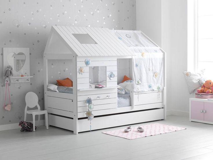 Unique Das niedrige Bett Silver Sparkle von Life Time Kiefer Whitewash Erweiterbar zum hohen Silversparkle