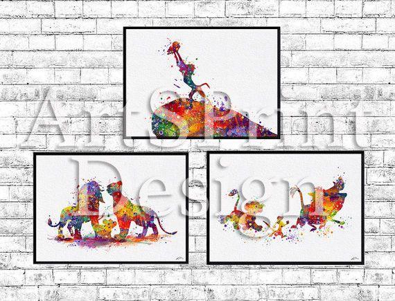 Set of 3 The Lion King prints Simba Timon Pumbaa Mufasa Sarabi iFamily Rafiki #Watercolor