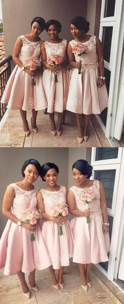 Pretty Pink Lace Top Sleeveless Tea Length Bridesmaid Dresses , BW0484 Pretty Pink Lace Top Sleeveless Tea Length Bridesmaid Dresses , BW0484