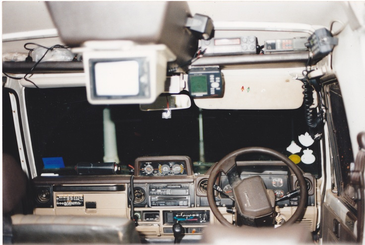 As you can see this is not the standard cabin interior of a diesel 1988 HJ75 Toyota Land Cruiser. The  electronics etc carried in the roof area, is to avoid water damage in deep water river crossings. Its consisted of a R.F.D.S Outpost & International Marine Radio, VHF Marine & Aircraft Radio, UHF CB, HF CB, Satephone, 5w Truck Phone, HF 600w Linear Amp, 100w UHF Linear Amp, 100w VHF Linear Amp, TV Video Monitor, GPS & E.P.I.R.B.