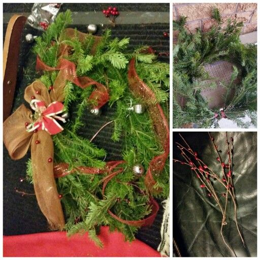 Fresh pine excess trimmings from the Christmas tree was made to a wreath with stuff that can be found at a dollar store