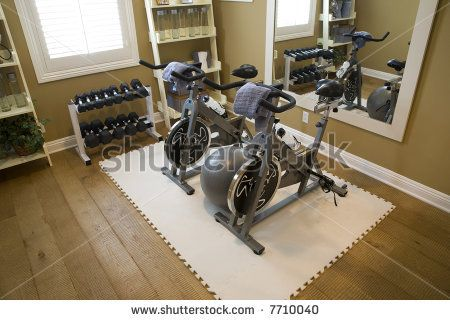 small home gym  luxury home fitness room with bicycles