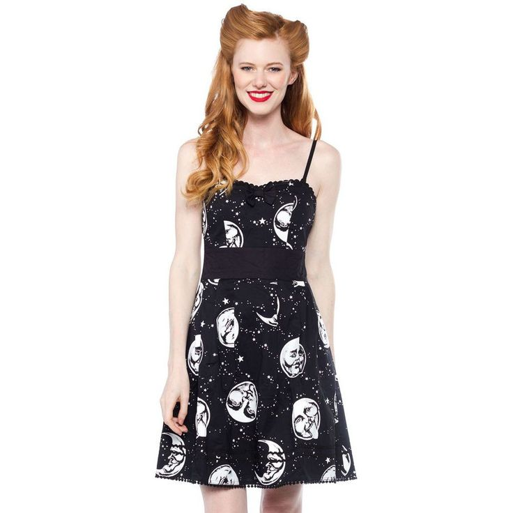 Sourpuss Moon Faces Party Dress Black Psychobilly Gothabilly Goth