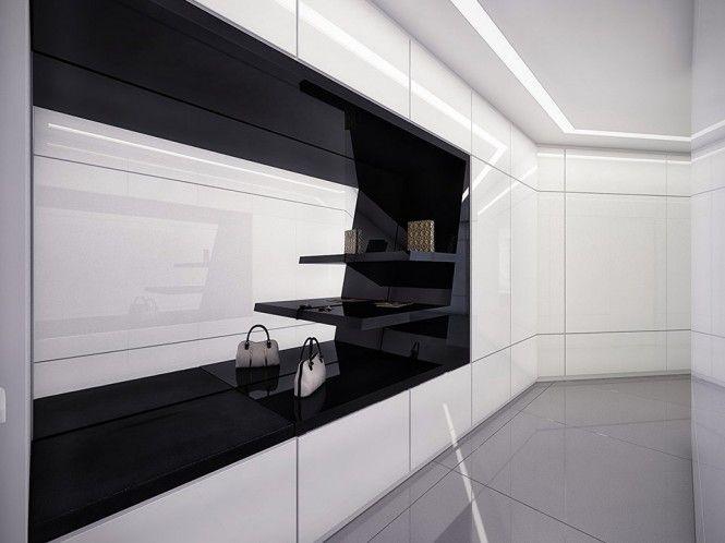 Apartment white and black closet futuristic black and white apartment