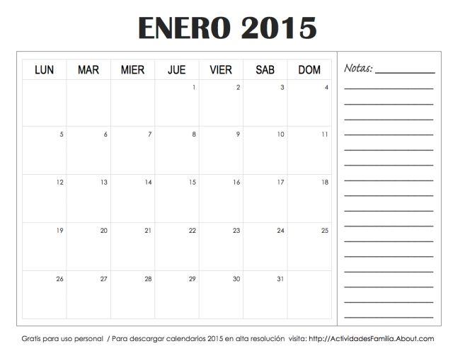 Calendario de celebraciones en Enero 2015