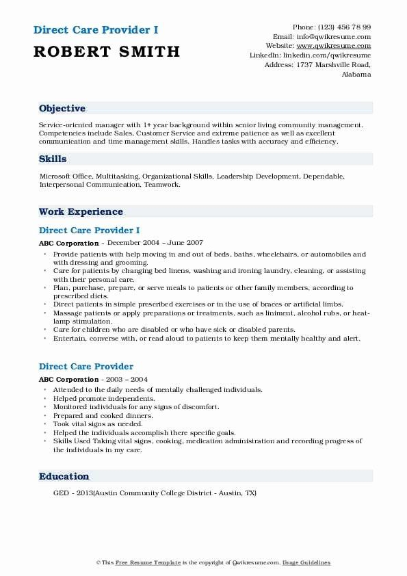 Direct Care Worker Resume Awesome Direct Care Provider Resume Samples In 2020 Care Worker Job Resume Samples Resume
