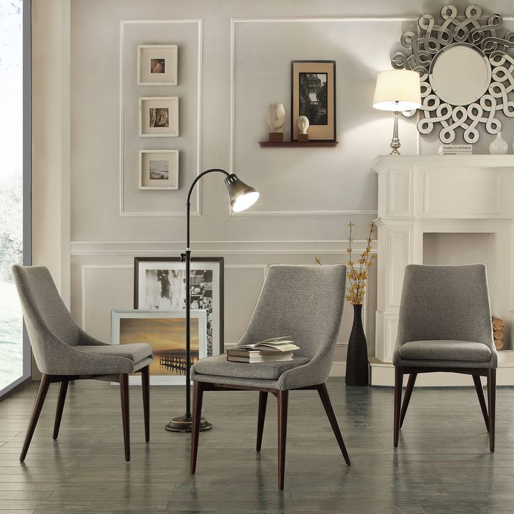 Sasha Grey Linen Upholstered Slope Leg Dining Chairs (Set of 2)   Overstock.com Shopping - Great Deals on Dining Chairs