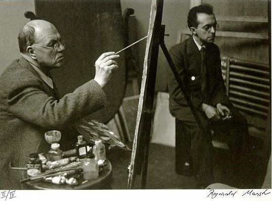 Edward Hopper painting at his easel with Raphael Soyer by Reginald MarshEdward Hopper Painting, Artists Studios, Reginald Marsh, Art Studios, Plastic Artists, Grand Artists, Raphael Soyer, Artists Work, Artists Photographers