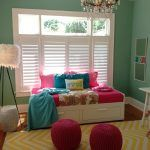 Beautiful green teenage room decorating ideas with white stained wood daybed and louvered window blinds also glass chandelier as well as red knitted rope pouffe on yellow chevron rug a part of  under Furniture