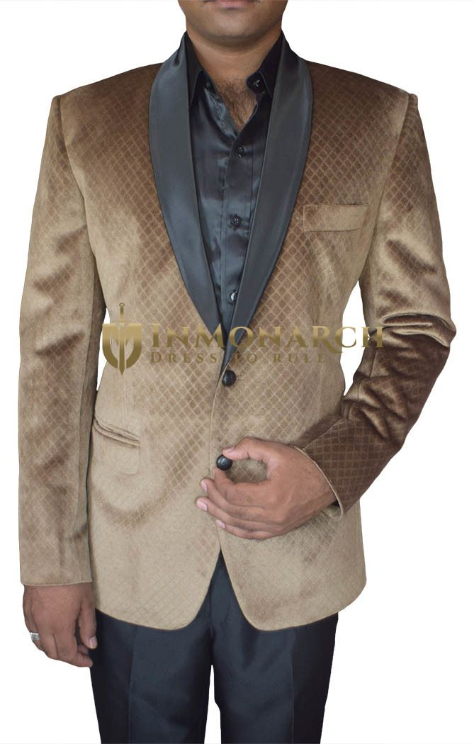 Mens Brown Velvet Blazer Two Button
