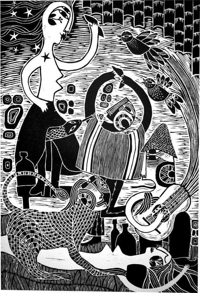 AL OTRO LADO DEL RÍO  Xilografía blanco y negro  45 x 60 cms. Alejandro Silva