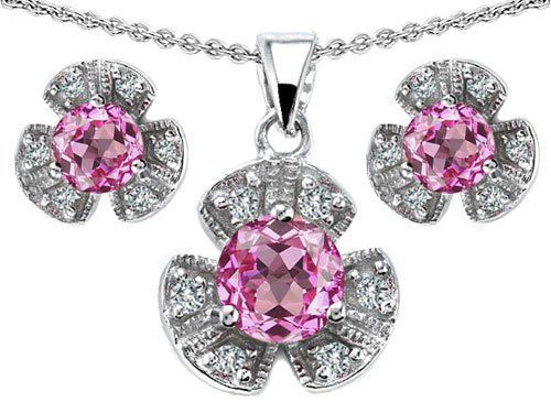 Original Star K(tm) Created Pink Sapphire Flower Pendant Box Set With Matching Earrings in 925 Sterling Silver Star K. $79.99. Free Lifetime Warranty exclusively offered by Finejewelers. Certificate of Authenticity Included with this item. Free High End Jewerly Box and Gift Packaging. Star K. Designs are exclusive and protected by Copyright Laws. Guaranteed Authentic from the Star K designer line