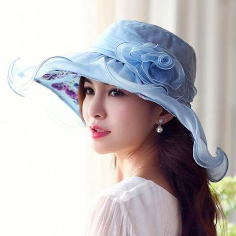 Flouncing silk hat for women floral lining wide brim sun hats summer wear