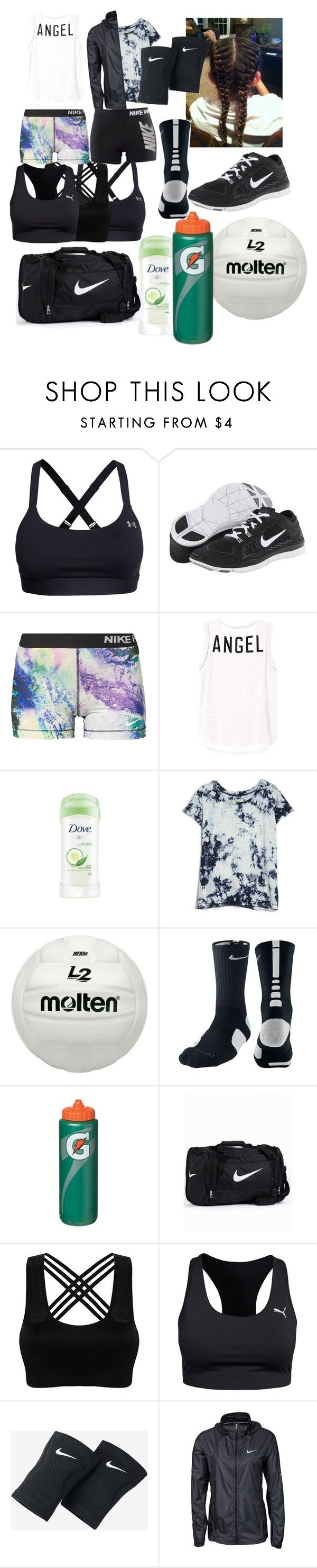 """""""Volleyball practice"""" by scatteredstripes ❤ liked on Polyvore featuring beauty, Under Armour, NIKE, Dove, Current/Elliott and Puma"""